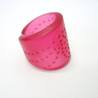 Cherry red spotted cuff resin ring jewelry,  chunky style, woman's fashion accessory adjustable