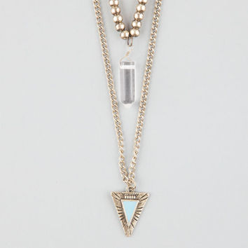 Full Tilt Crystal/Triangle 2 Row Necklace Metal One Size For Women 26175319101