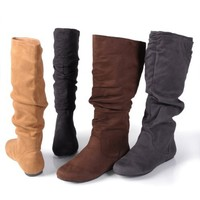 Journee Collection Womens Slouch Knee-High Microsuede Boot