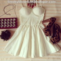 Sexy White Bustier Dress with Adjustable Straps - Size XS/S/M - Smoky Mountain Boutique