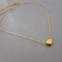 Gold Heart Necklace, Tiny, gold filled chain, by balance9