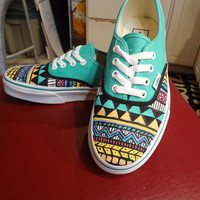 Aztec/Tribal Vans (Shoes/ Sneakers - MADE TO ORDER)