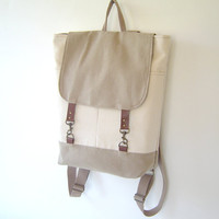 Natural Ivory and Beige Backpack Unique Design of by BagyBag
