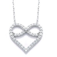 Sterling Silver Two in One Infinity and Heart CZ Necklace