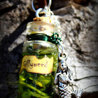 INSPIRED Harry Potter Series Potion Bottle Glitter Necklace Gillyweed Potion Mermaid