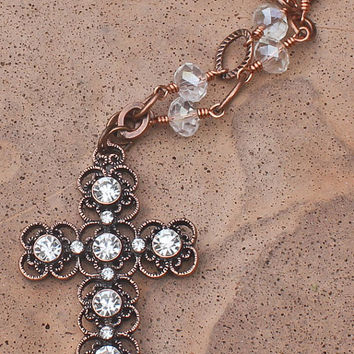 Copper Cross Necklace, Copper and Crystals, Crystal Cross Pendant, Christian Necklace, Copper Jewelry, Mother's Day Necklace, Cross Jewelry