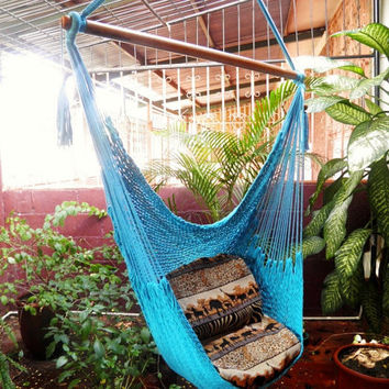 Blue Turquoise Beautiful, Chair Hammock Handmade Cotton for Decoration or Present