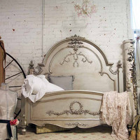 Painted Cottage Romance Shabby Silver Slipper Queen Bed