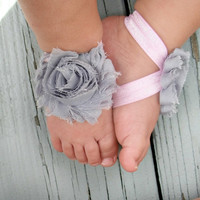 Baby Barefoot Sandals .. Gray Flower with Pink Elastic .. Toddler Sandals .. Newborn Sandals