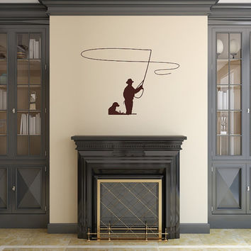 Fly Fisherman and Dog Vinyl Wall Decal Fathers Day 22412