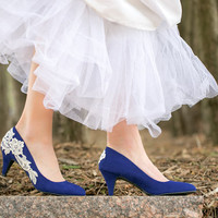 Wedding Shoes  - Blue Wedding Shoes, Blue Bridal Heels/Blue Pumps with Ivory Lace. US Size 7