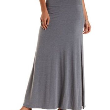 Charcoal Double Side Slit Maxi Skirt by Charlotte Russe