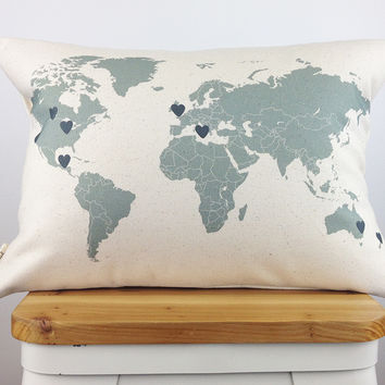Personalized World Map Pillow