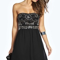 Niamh Embellished Top Bandeau Chiffon Dress
