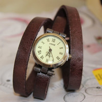 dark brown  leather wrist watch,rivet bracelet,leather watch,antique watch,vintage watch ,wrist watch, handmade watch, bracelet,rivet watch