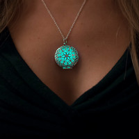 Frozen Glowing Necklace - Glowing Jewelry - Glow Pendant - Circle - Glow in the Dark Aqua - Christmas Gifts for Her - Holidays