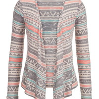 Patterned Open Front Cardigan - Multi