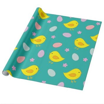 Cute Easter pattern with chickens, eggs, flowers Wrapping Paper