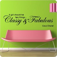 """48"""" Coco Chanel Classy and Fabulous - WALL STICKER DECAL QUOTE ART MURAL Large Nice"""