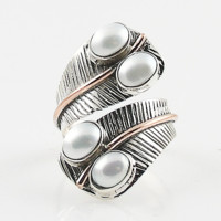 Pearl Two Tone Sterling Silver Adjustable Leaf Wrap Ring