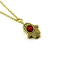 Hamsa Hand with Jade Insert Pendant on Gold Plated Choker Necklace