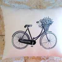 Bicycle Pillow French Country Home Cottage by parismarketplace
