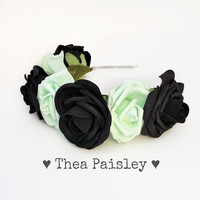 Pastel Goth Rose Flower crown: Classic Mint Pastel Flower Halo, pastel grunge, indie, kawaii, pastel, pale, hipster flower crown, mint