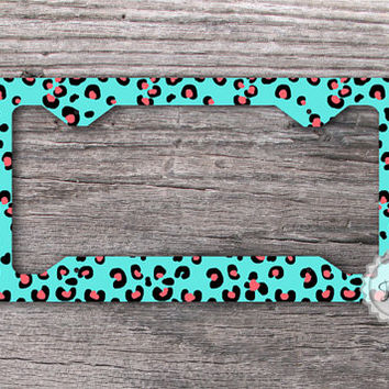 Car Tag Frame - Cheetah pattern license plate frame , chic front car tag frame