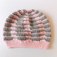 Slouch Baby Hat 6-9 Months Pink and Gray