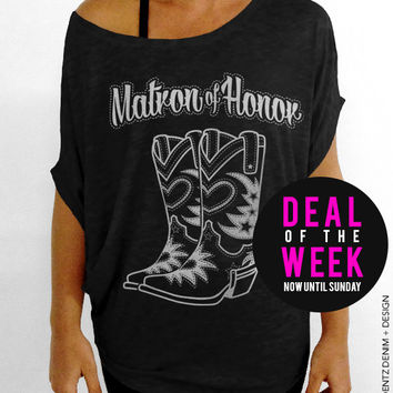 Cowgirl Boots Matron of Honor - Black with Silver Slouchy Tee