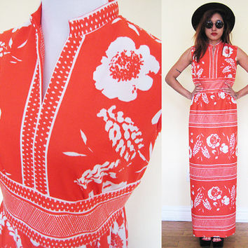 Vintage 70's M/L chinese collar maxi hippie boho bohemian floral flower print mod orange mid century medium large party wedding dress