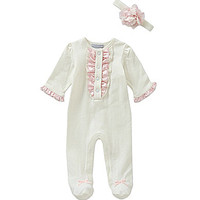 Wendy Bellissimo 3-9 Months Footed Coverall & Flower Headband Set - Iv