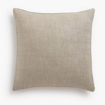 Belgian Linen Pillow Cover Oatmeal - Oyster Piped