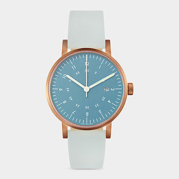 Blue And Rose Gold Horizon Watch   MoMA