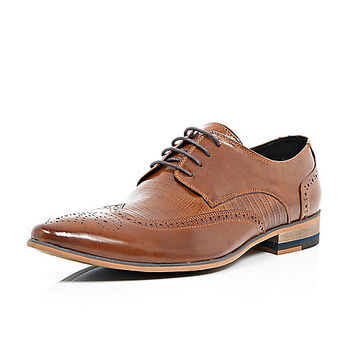 River Island MensBrown leather panelled lace up brogues