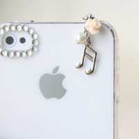 FREE Shipping-Music Note iPhone Earphone Plug. Flower Cell Phone Charm. iPhone4, iPhone5, iPad Air, Samsung, iPhone Accessories