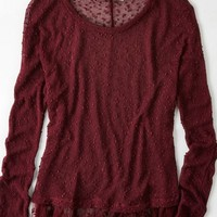 AEO Women's Feather Light Ruffled Hem Sweater