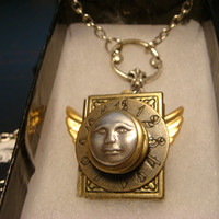 Man on the Moon- Moon Face Double Locket Style Steampunk Neo Victorian Necklace (1714)