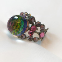 Ring, fireball, disco ball ring, toe ring or finger ring with crystal ball and small accent crystals