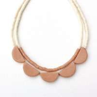 geometric scallop double strand polymer clay necklace, cream nude skin color