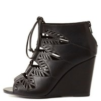 Laser Cut-Out Lace-Up Wedges by Charlotte Russe