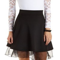 Organza-Trim Skater Skirt by Charlotte Russe