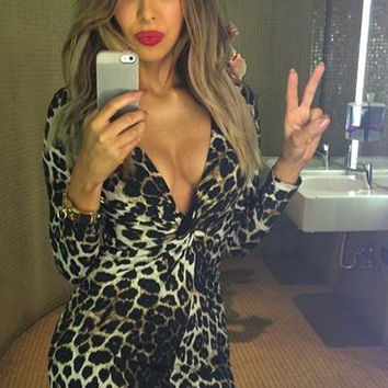 Long V Neck Leopard Printed Bodycon
