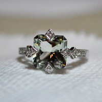 2.5ct Cushion Cut Quartz Sterling Silver Ring