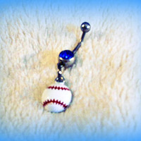 Baseball or softball Belly Ring, Piercing, Trending Belly Ring, Athletic, Athlete, Belly button, Navel, Summer, Beach, Ready to Ship