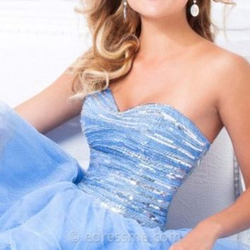 Linear Tulle Mini Prom Gown by Tony Bowls Shorts