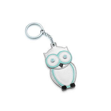 Tiffany & Co. - Owl key chain in Tiffany Blue and silver grain leather. More colors available.