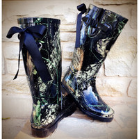 Brown Camo Rain Boots with Custom Bows