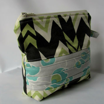 Cosmetic Bag zippered pouch, Make up Bag Patchwork Nigela Ritzy Stripes Amy Butler Fabrics