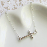 Sideways Cross Bracelet, Sterling SIlver, Gift for Her